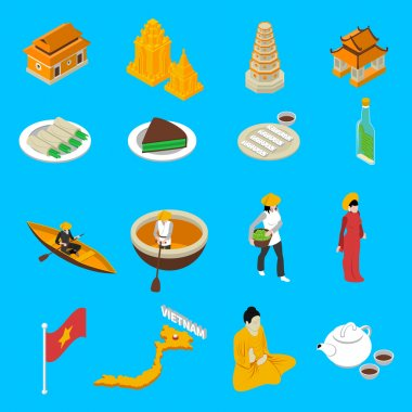Vietnam Touristic Attractions  Isometric Icons Collection