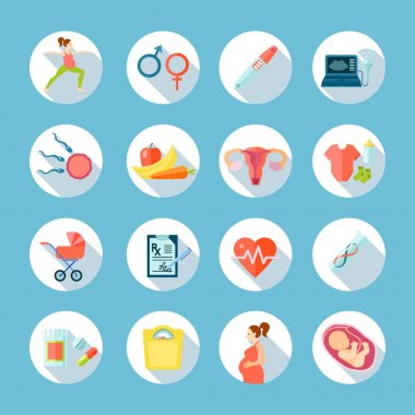 Pregnancy Round Icons Set
