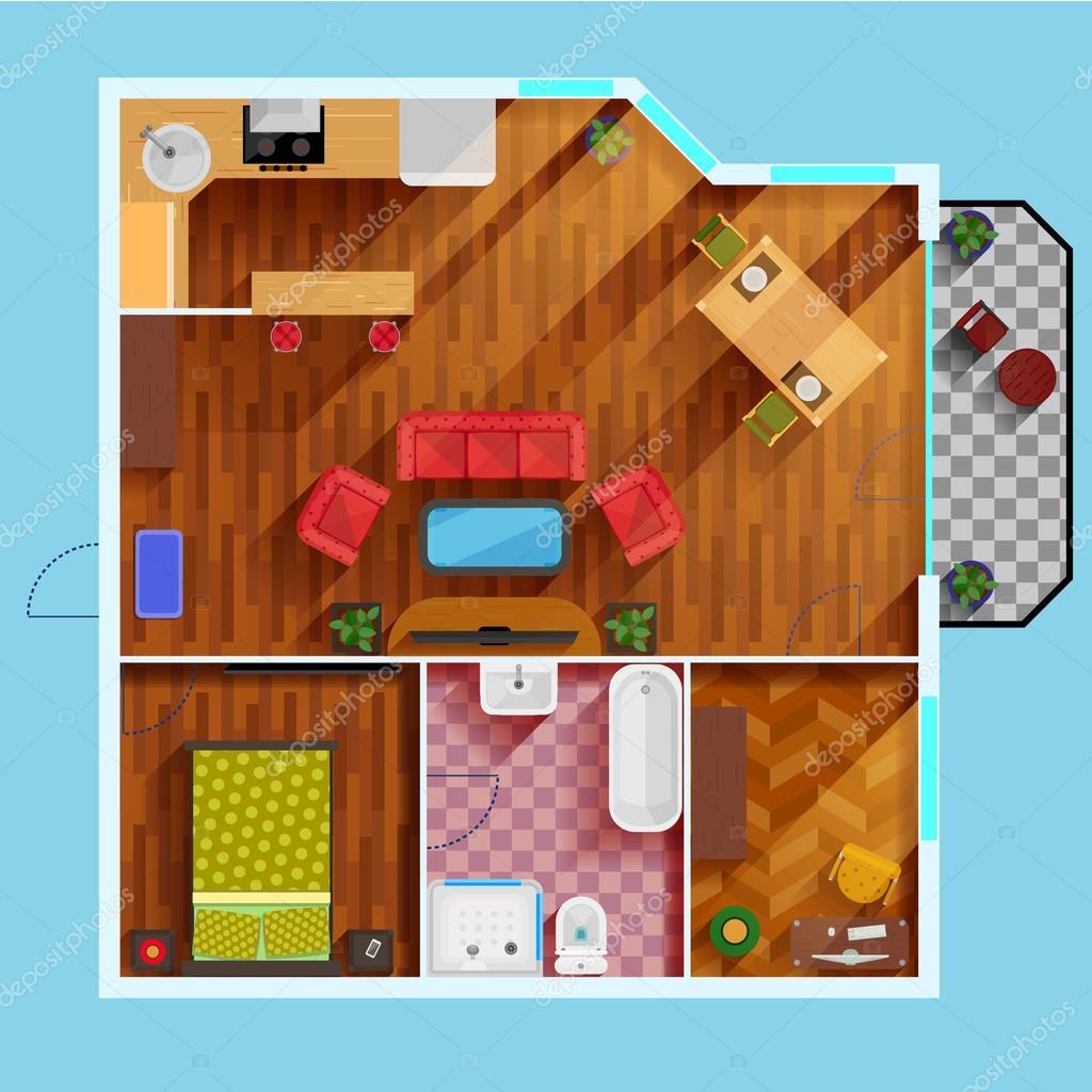 1 slaapkamer appartement plattegrond — Stockvector © macrovector ...