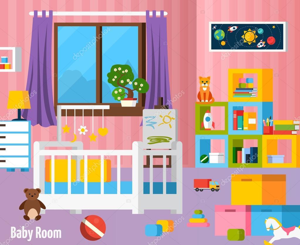 Composición plana colorido de bebé habitación — Archivo Imágenes ...