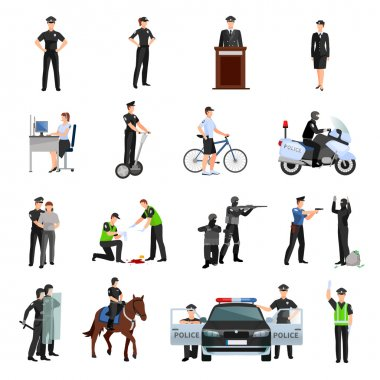 Police People Flat Color Icons Set