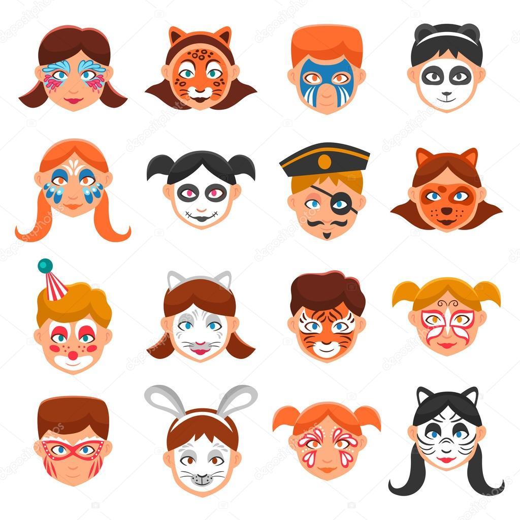 c9cbaea571584 Pintura de cara para el sistema de iconos de los niños. Ilustración de  Vector de caras pintadas. Maquillaje para niños símbolos plana.