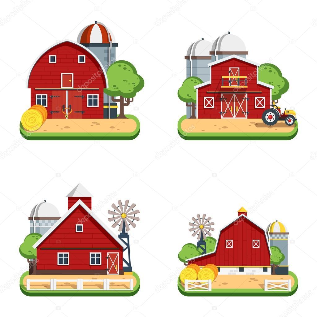 Farm Flat Isolated Decorative Icons