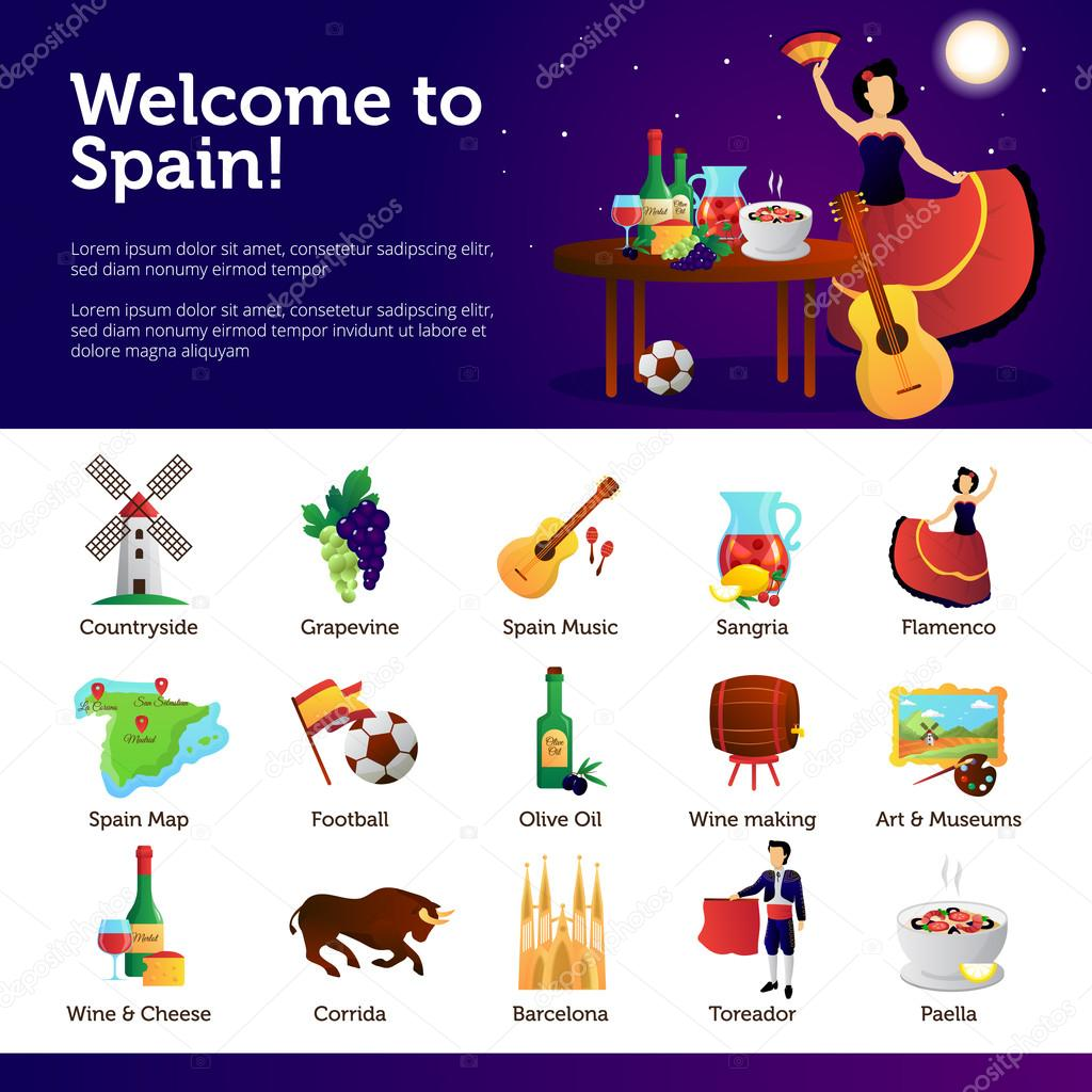 Welcome to spain infographic symbols poster stock vector welcome to spain infographic symbols poster stock vector buycottarizona Images