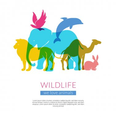 Wildlife Animals Flat Silhouettes Composition Poster