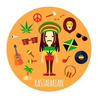 Rastafarian Character Accessories Flat Round Illustration