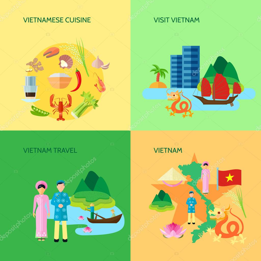 Vietnamese Culture 4 Flat Icons Square