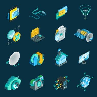 Telecommunication Isometric Icons Set