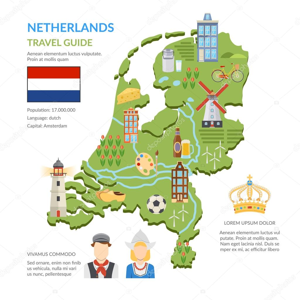 Netherlands Map Flat Infographics Stock Vector Macrovector - Us flat map