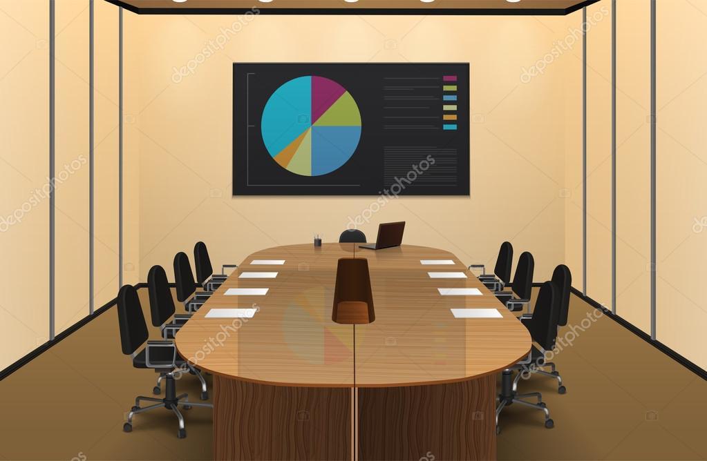 conference room interior design illustration ストックベクター