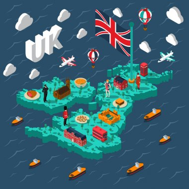Great Britain Touristic Isometric Map