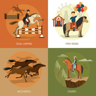 Horse Breeds Concept 4 Icons Square