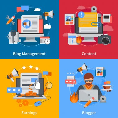 Blogging Flat 2x2 Icons Set
