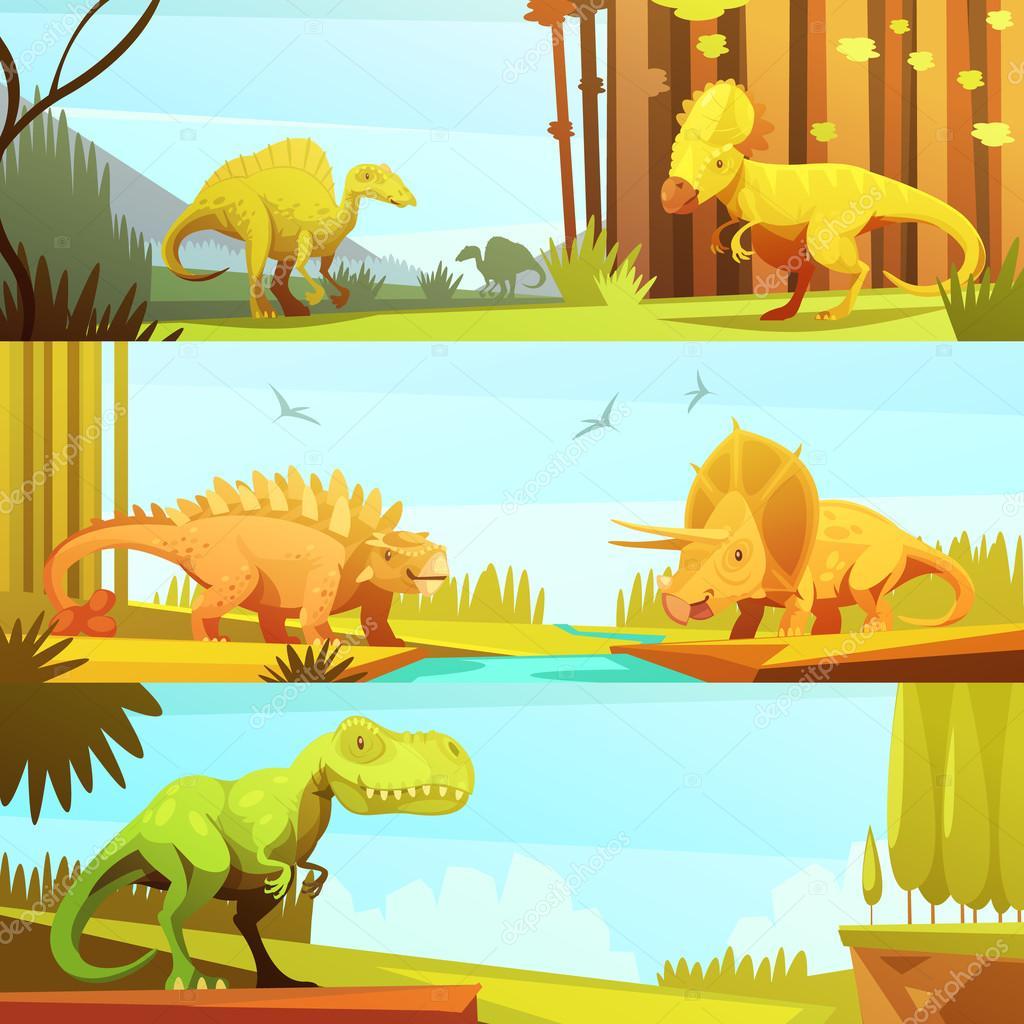 Dinosaurus 3 Horizontal Retro Banners Collection
