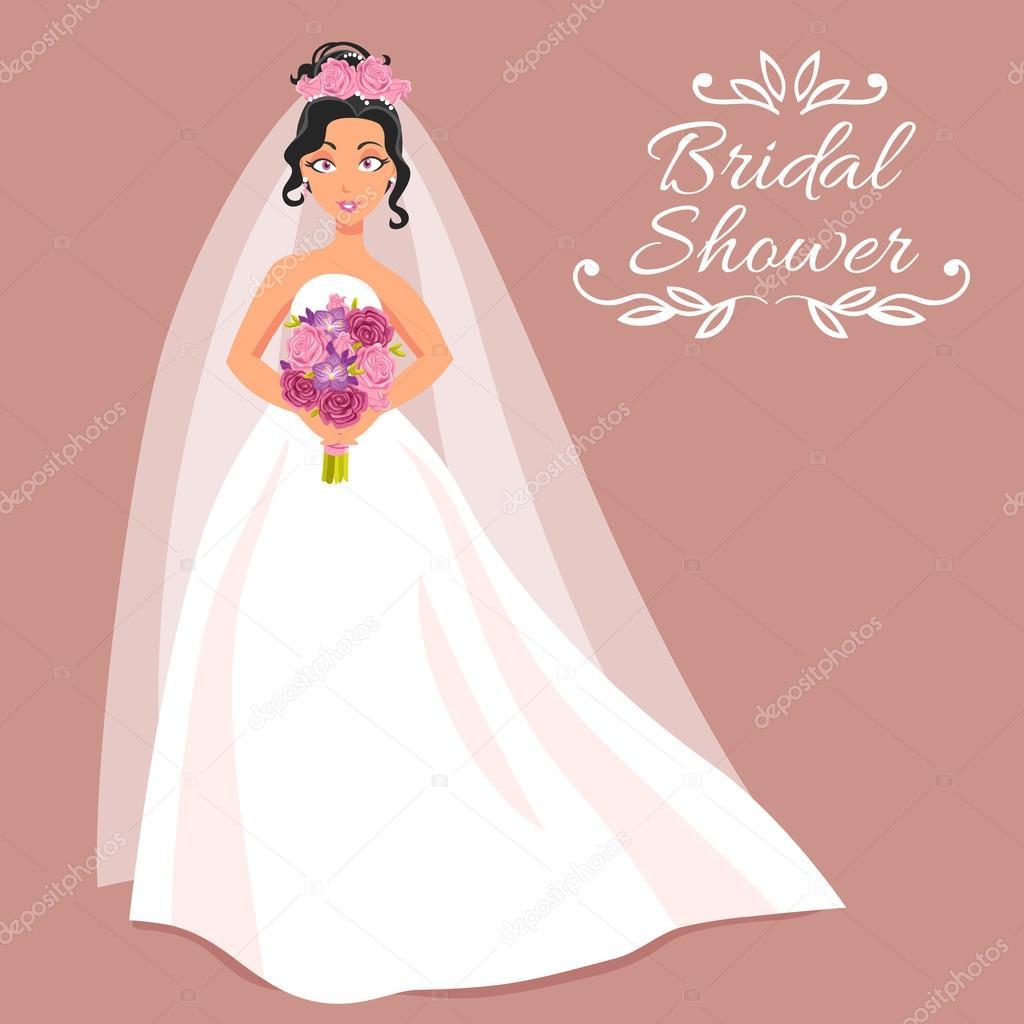 novia vestida de blanco con ramo de flores — Archivo Imágenes ...
