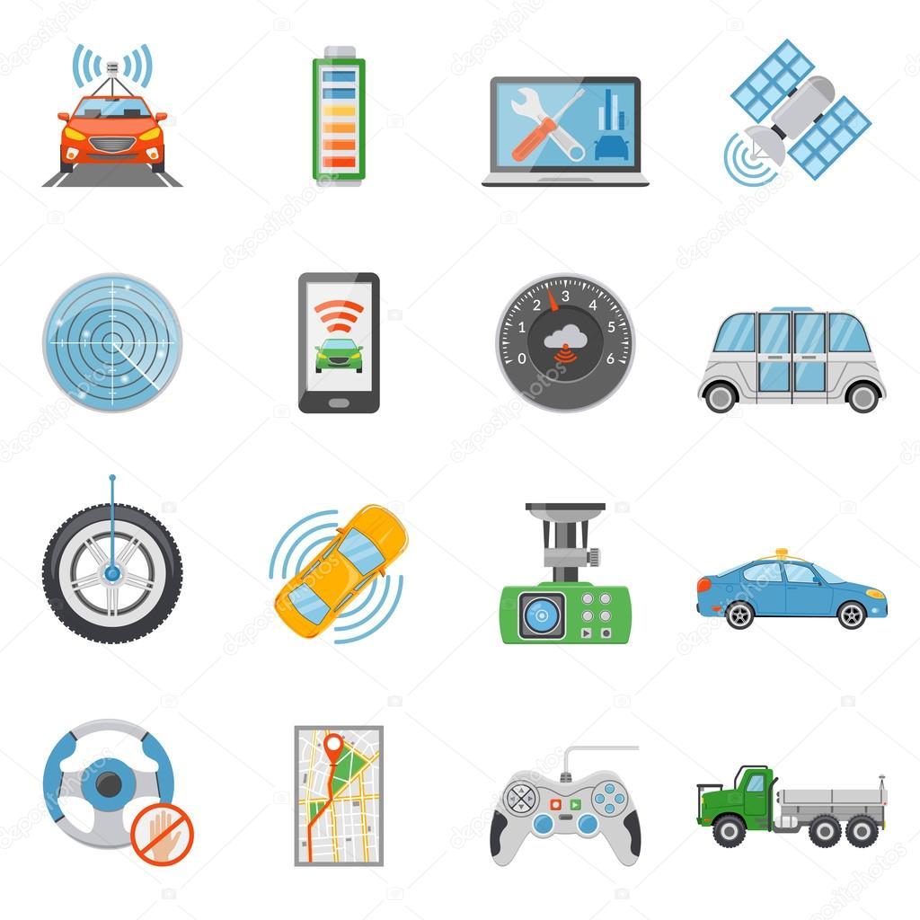 voiture sans conducteur v hicule autonome icons set image vectorielle macrovector 119656342. Black Bedroom Furniture Sets. Home Design Ideas