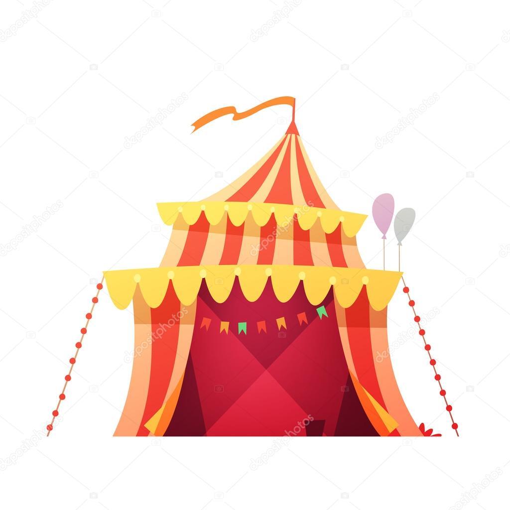 Cestovni Cirkus Stan Retro Kreslene Ikony Stock Vektor
