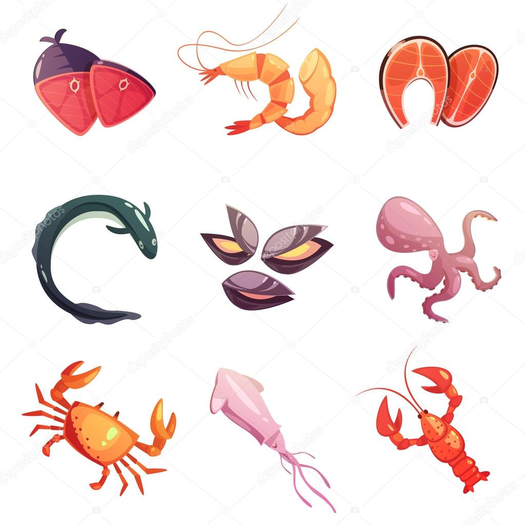 Sea Food Retro Cartoon Icons Set
