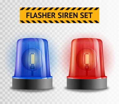 Flasher Siren Transparent Set