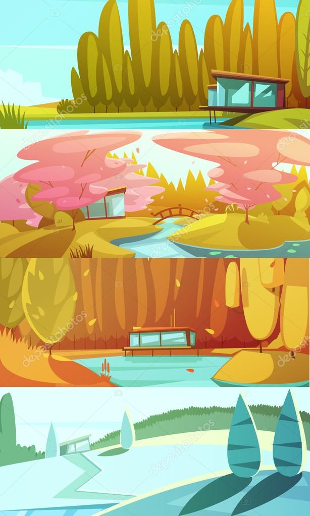Nature Seasons Landscapes Horizontal Banners Set