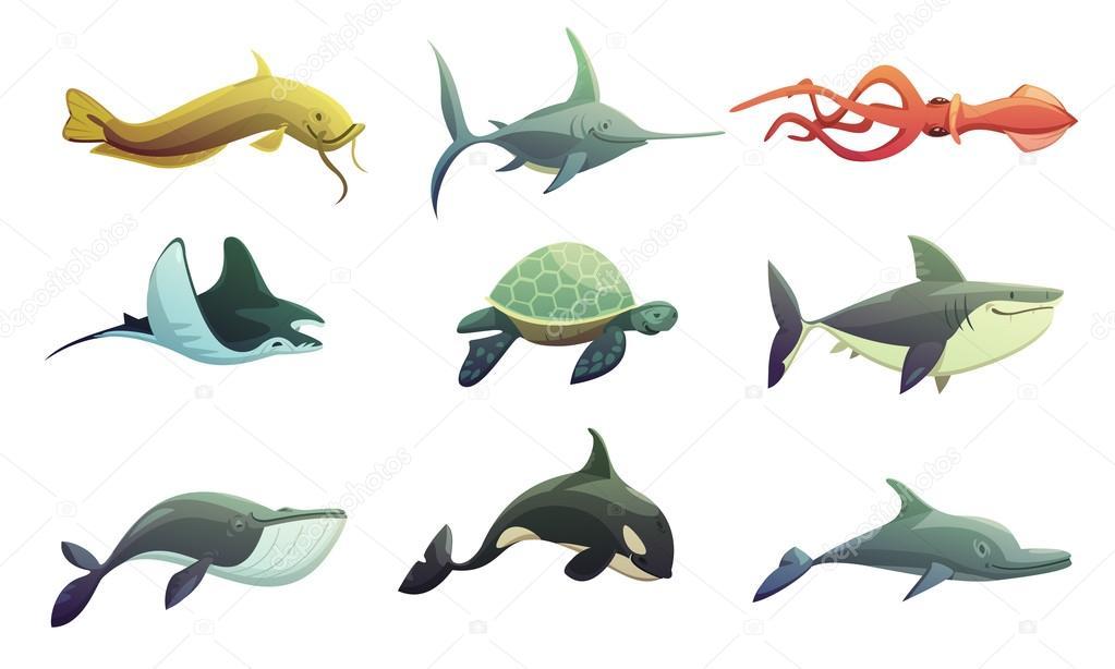 Dibujos De Animales Marinos Para Colorear: Dibujo Animales Marinos. Gallery Of Gran Conjunto De
