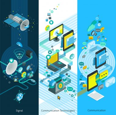 Telecommunication Isometric Vertical Banners