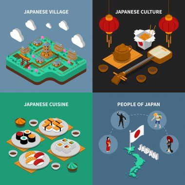 Japan Touristic Isometric 2x2 Icons Set