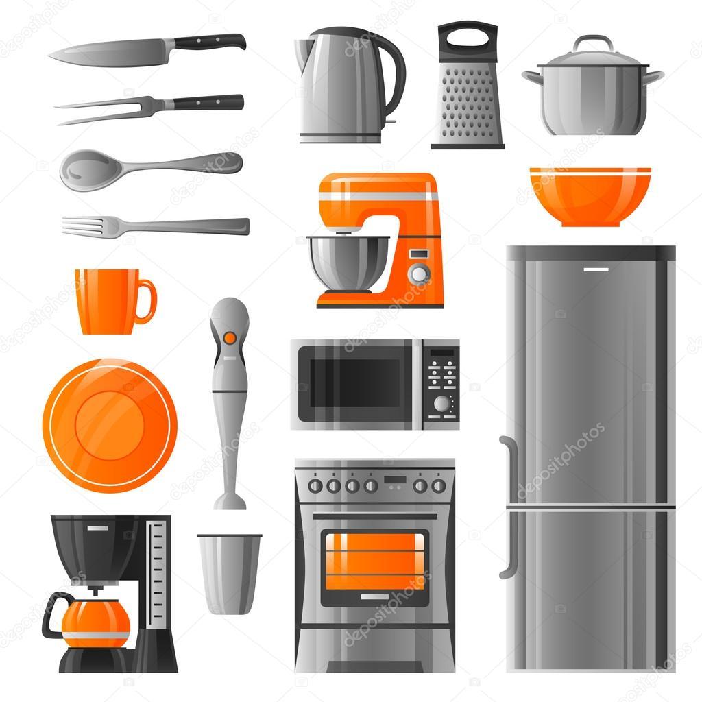 бытовая техника и кухня посуда набор иконок векторное изображение