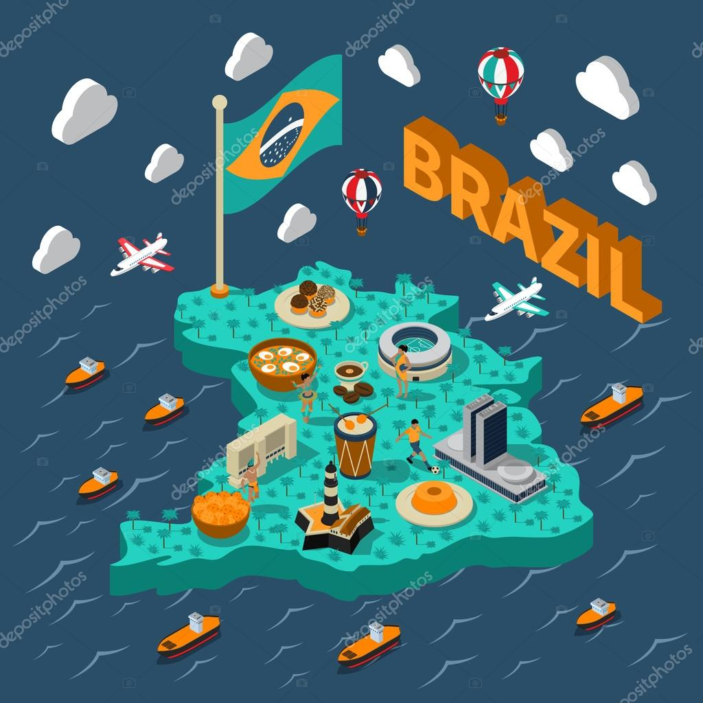 Brazil Isometric Map