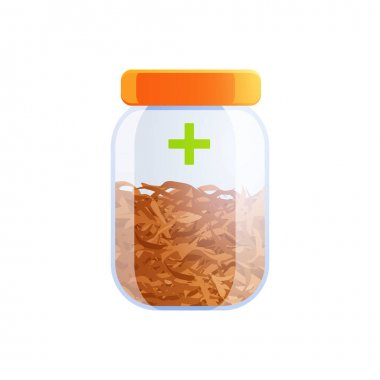 Medical marijuana cannabis drugs flat composition with isolated glass jar filled with hemp vector illustration icon