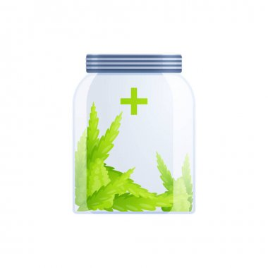 Medical marijuana cannabis drugs flat composition of hemp leaves inside closed glass can vector illustration icon