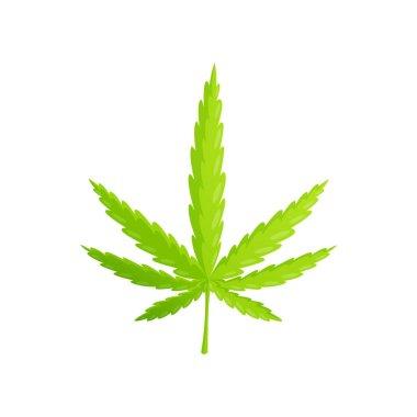 Medical marijuana cannabis drugs flat composition with isolated image of ripe hemp leaf vector illustration icon