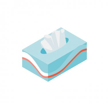 Isometric composition with pack of tissue napkins on blank background vector illustration icon
