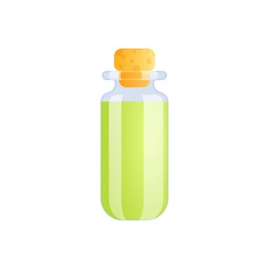 Medical marijuana cannabis drugs flat composition with isolated image of glass jar with green liquid vector illustration icon