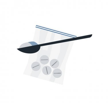 Addiction composition with ziplock pack of round pills with spoon for preparing drugs vector illustration icon