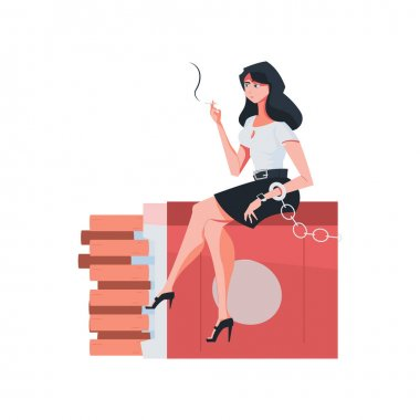 Addiction composition with flat character of smoking woman enchained to stack of cigarette packs vector illustration icon
