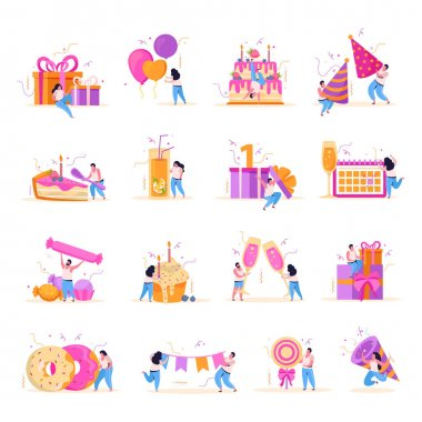 Set of isolated birthday flat icons with human characters and sweets with balloons gifts and decorations vector illustration icon