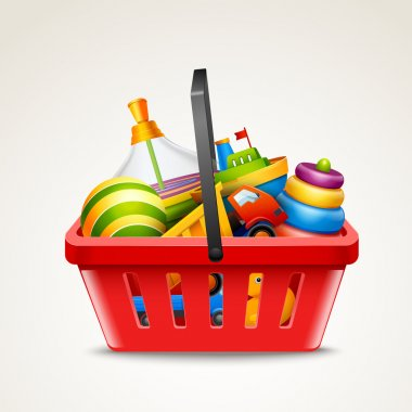 Toys in shopping basket