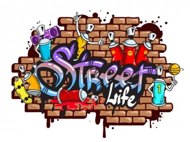 Decorative urban world youth street life graffiti art spraycan characters and drippy blotchy letters composition vector illustration stock vector