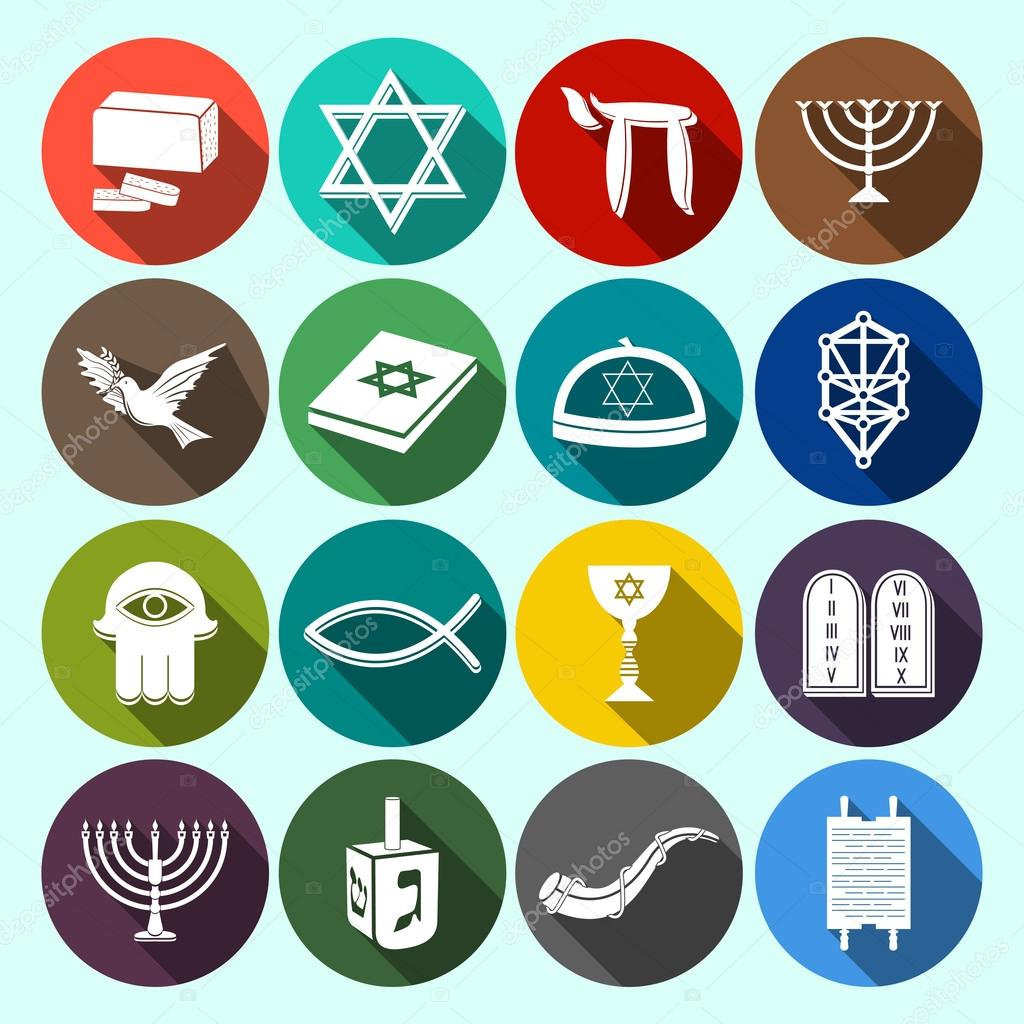 Judaism Icons Set Flat Stock Vector Macrovector 52264201