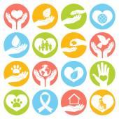 Fotografie Charity- und Spendensymbole weiß