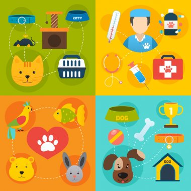 Veterinary pet food and health care infographic flat isolated vector illustration clip art vector
