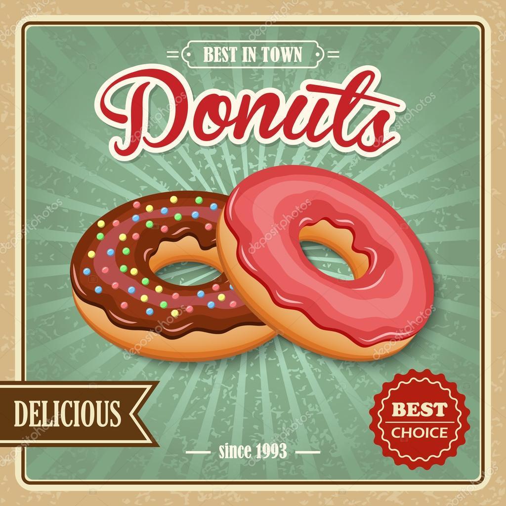 Affiche r tro donut image vectorielle 52696619 for Affiche cuisine retro
