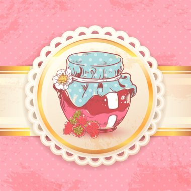 Strawberry jam retro background