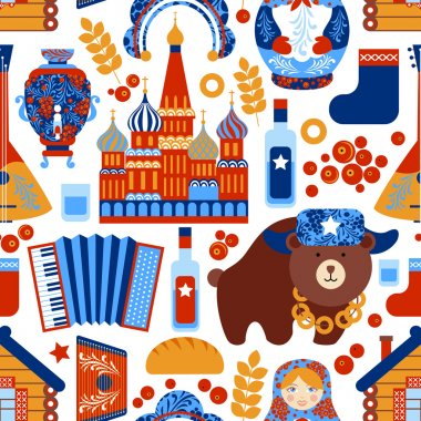 Russia travel seamless pattern