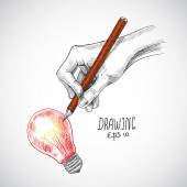Hand drawing lightbulb