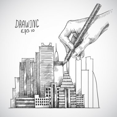 Hand drawing building