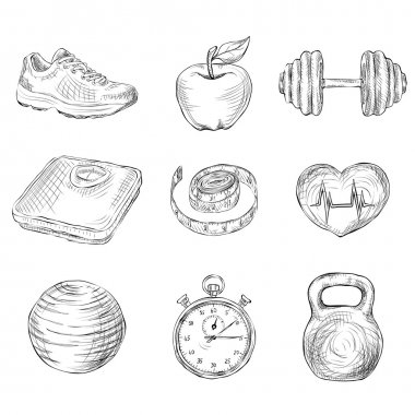 Fitness bodybuilding diet and healthcare sketch icons set isolated vector illustration clip art vector