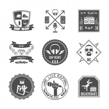 Rap music hip hop party beats label set isolated vector illustration stock vector
