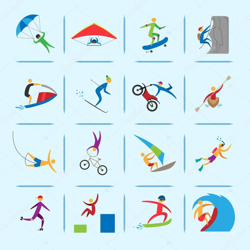 Extreme sports icons of diving climbing sailing people isolated vector illustration stock vector